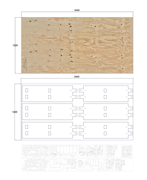 1220 X 2440 PLYWOOD PANEL CUTTING PATTERN OF STRUCTURAL MEMBERS